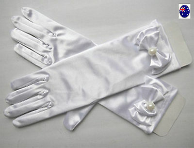 Flower Girl Kid Child White Wedding Bridesmaid Princess Costume Party Gloves
