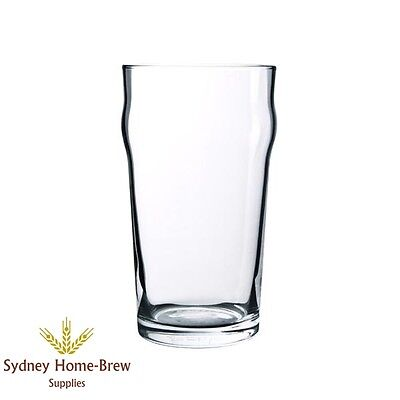 Crown Nonic Plain Beer Glass 570ml x 12 Pint Brew Bar Pub homebrew