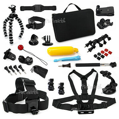 34PCS Pack Accessories Case Head Chest Monopod Surf Mount for GoPro Hero 5 4 3+