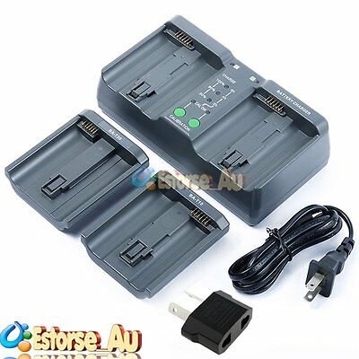 【AU】MH-26A Dual Fast Charger For Canon LP-E4 Nikon EN-EL4 EN-EL18 Battery