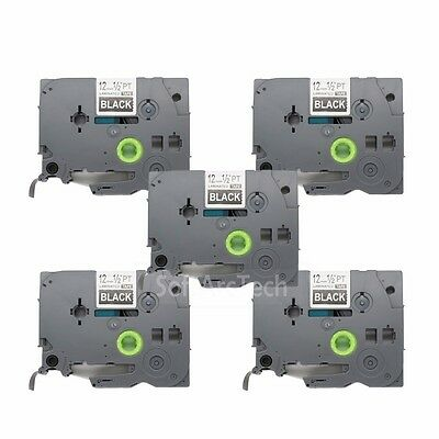 5pk White / Black Label Tape Compatible for Brother PTouch TZ 335 TZe 335 12mm