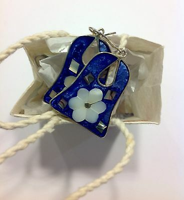 MEXICAN EARRINGS Sterling Silver Plated Bell Daisy Flower Design Blue Colour