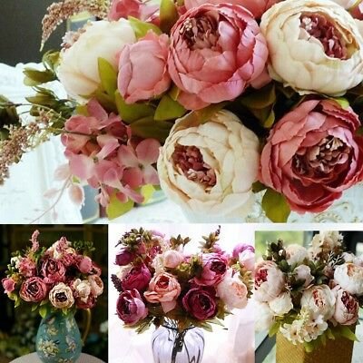 1 Bouquet Artificial Peony Silk Flowers Bridal Hydrangea Wedding Party Decor UK