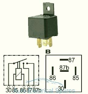 Double contact relay with bracket 12v 2 x 15A 5 terminals