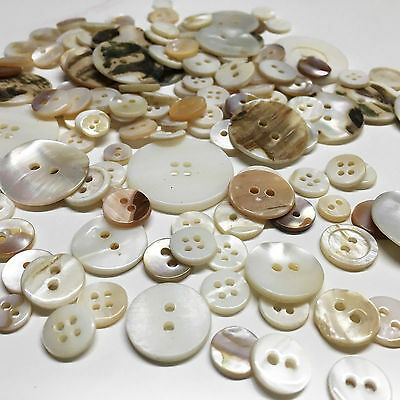 Cream Ivory Vintage Mother Pearl Shell Sewing Buttons Jewellery Making Crafts