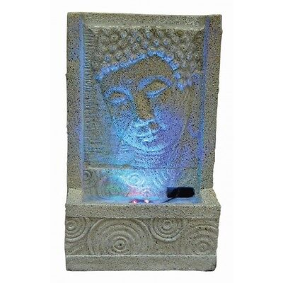 Sandstone Buddha Face with Swirl Indoor Water Feature Ideal for Feng Shui