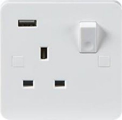 Single Wall Socket With USB Port Standard White With Built in USB Charger PU9901