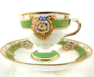 ANTIQUE ENGLISH PORCELAIN TEA CUP SAUCER FOOTED HAND PAINTED p.898 E