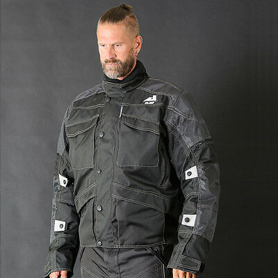 Motorbike Motorcycle Cordura Textile Jacket CE Approved Armours Black ALIVE