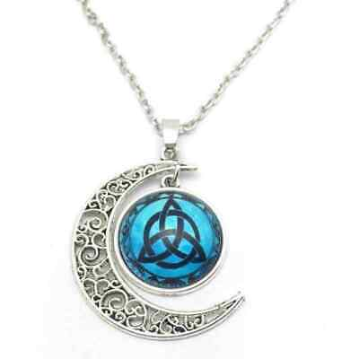 Pagan Wicca Blue Moon Trinity Goddess Picture Amulet Necklace Triquetra + Pouch