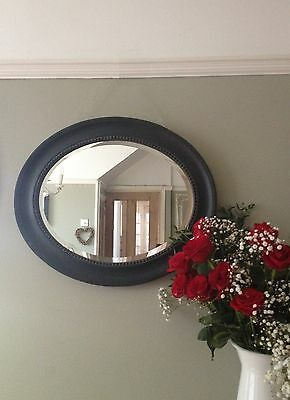 Large Antique Oval French Style Gold Silver Gilt Black White Ivory Round Mirror