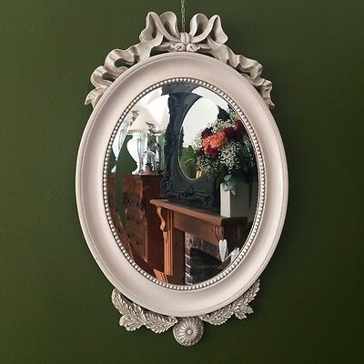 Large French Shabby Chic Ivory Paris OVAL Wall Mirror Antique Ornate