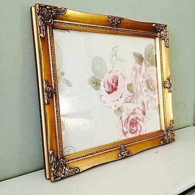 """ORNATE VINTAGE ANTIQUE STYLE PICTURE FRAME 10"""" x 12"""" BLACK SILVER IVORY WHITE"""