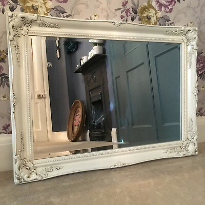 SHABBY CHIC Large Swept 3FT IVORY FRENCH Ornate MIRROR