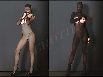 Catsuit Langarm Ouvert Ganzkörper Body Overall Bodysuit Stockings Zentai Harness
