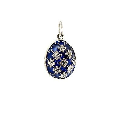 Faberge Egg Pendant with Blue Enamel and Crystals