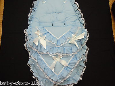 Beautiful. Pram  Cosytoes  / Footmuff.  Romany. Style. Bling  Colour  Baby Blue