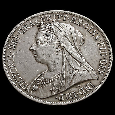 1900 Queen Victoria Veiled Head Silver LXIV Crown – G/EF