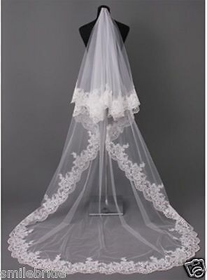 High Quality Two-tier Chapel / Cathedral Bridal Veils With Lace Applique Edge