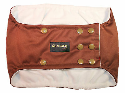 Glenndarcy Waterproof Dog Belly Band Nappy / Urine Marking /incontinence -Coffee