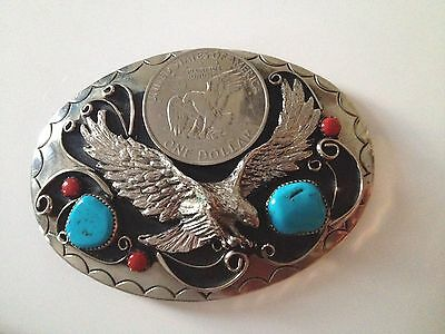 Silver Dollar Turquoise Coral Squaw Wrap Belt Buckle