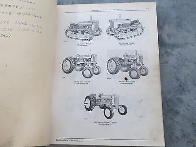 John Deere 420 430 Series Tractor Two Cylinder Parts Catalog 1963