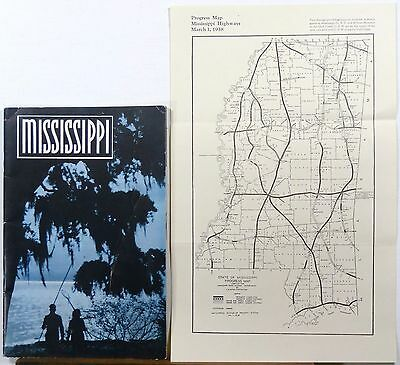 1938 Mississippi promotional booklet w/ pull out state highway road map b