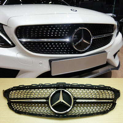 2015+ Mercedes-BENZ W205 C-class C450AMG Type Piano Black Front Diamond Grille