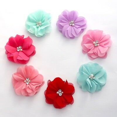 Chiffon Pearl and Rhinestone flowers 8 cm- for millinery , hair and crafts