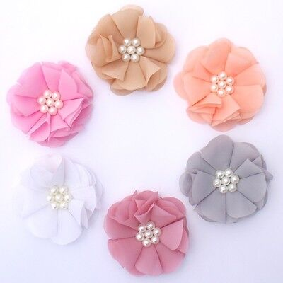 Chiffon Pearl flowers 8 cm - for millinery , hair and crafts