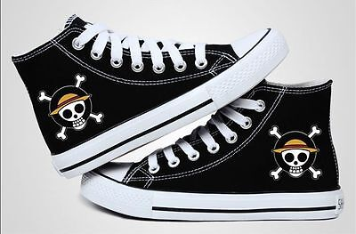 Hot ONE PIECE Anime Canvas Shoes LUFFY SKULL Logo Classic Black Casual Shoes W.3