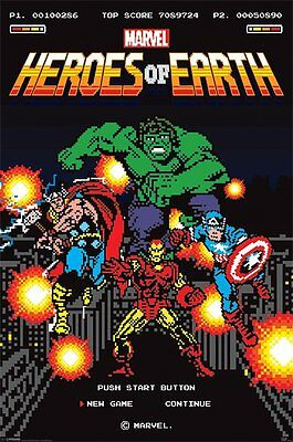 Marvel Retro 8-Bit Heroes Of The Earth 91.5X61Cm Poster New Official Merchandise
