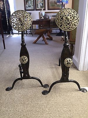 Arts & Crafts Wrought/cast Iron Brass Andirons And Poker English • CAD $496.27