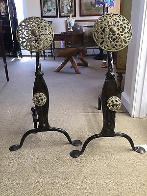 Arts & Crafts Wrought/cast Iron Brass Andirons And Poker English