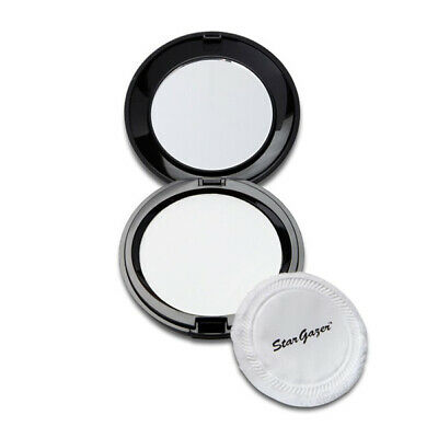 Stargazer MakeUp - Pressed Powder Compact Matte Finish Puff & Mirror - White