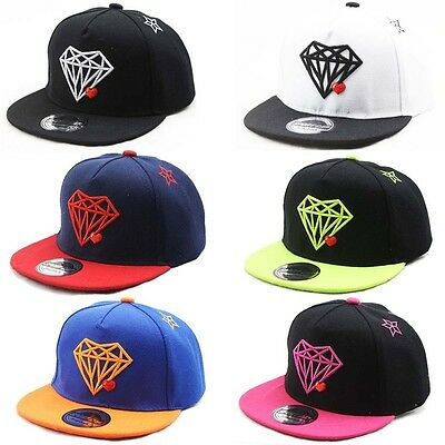 Spring Boys Girls Diamond Outdoor Snapback Baseball Caps Kids Casual Hiphop Hats