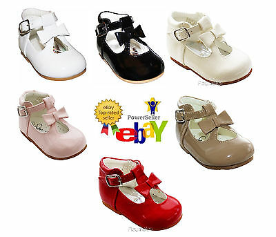 Sevva Baby Infant Girls Patent Spanish Walking Shoes Bow Trim Sizes 2 3 4 5 6