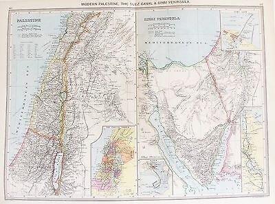 OLD ANTIQUE MAP PALESTINE MIDDLE EAST SINAI SUEZ CANAL c1906 by PHILIP & SON