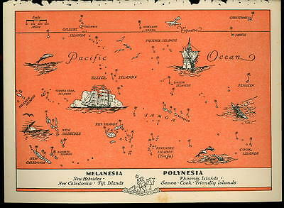 1945 MELANESIA Color PICTURE MAP - POLYNESIA ISLANDS by BEAUDOUIN- 6.33 x 9 inch