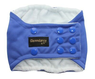 Glenndarcy Dog Belly Band Nappy I Waterproof Fabric I Blue | Poppers