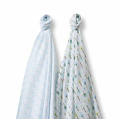 SwaddleDesigns SwaddleDuo, Cute & Calm Duo (Set of 2 in Pastel Blue), New, Free
