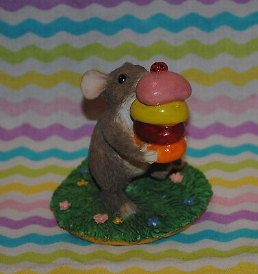"""1995 Charming Tails """"gathering Treats"""" Gathering Jelly Beans Easter Silvestri"""