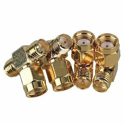4 PCS 16x18x10mm RPSMA Male Plug to Double SMA Female RF Coaxial T Connector