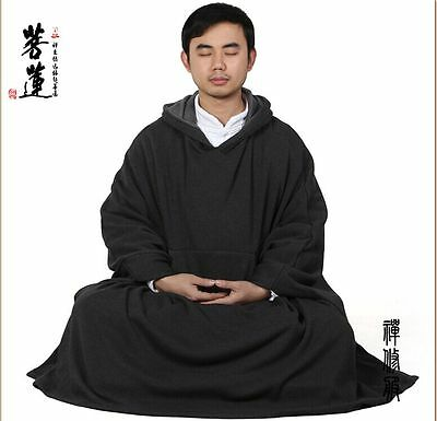 Thickened Warm Buddhist Meditation Zen Monk Lay Cloak Long Robe Gown Clothing N