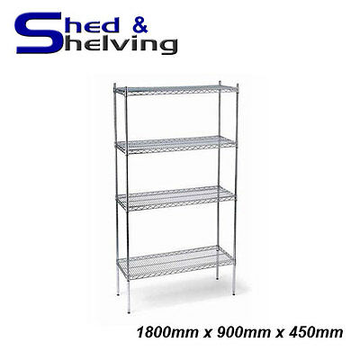 Heavy Duty 1800x900x450mm Wire Mesh Shelving Chrome Racking Storage Display