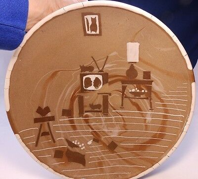 """Decorative Stoneware Plate Abstract Outsider Art """"The Good Book And Spilt Milk"""""""