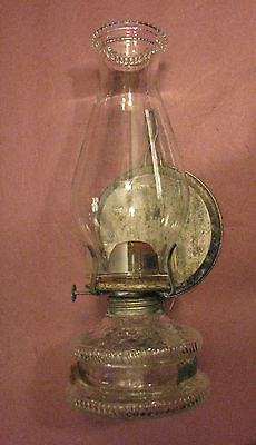 Vintage Kerosene Oil Lamp Wall Mount Beaded Top