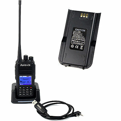 DMR Walkie Talkie Retevis RT3 UHF DTMF 1000 Canales 5W+Batería 2000mAh+USB Cable