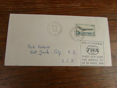 FDC LETTRE TWA VOL INAUGURAL PARIS-NEW YORK Par BOEING 747 13/04/1970