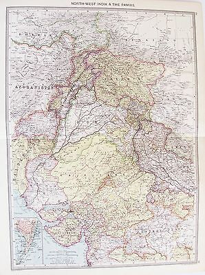OLD ANTIQUE MAP INDIA NORTH WEST MUMBAI PUNJAB KASHMIR  RAJASTHAN 1906 by PHILIP